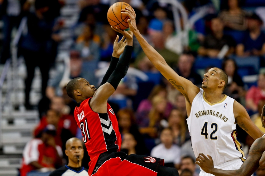 Mar   New Orleans La Usa New Orleans Pelicans Center Alexis Ajinca  Blocks A Shot By Toronto Raptors Forward Terrence Ross  During The