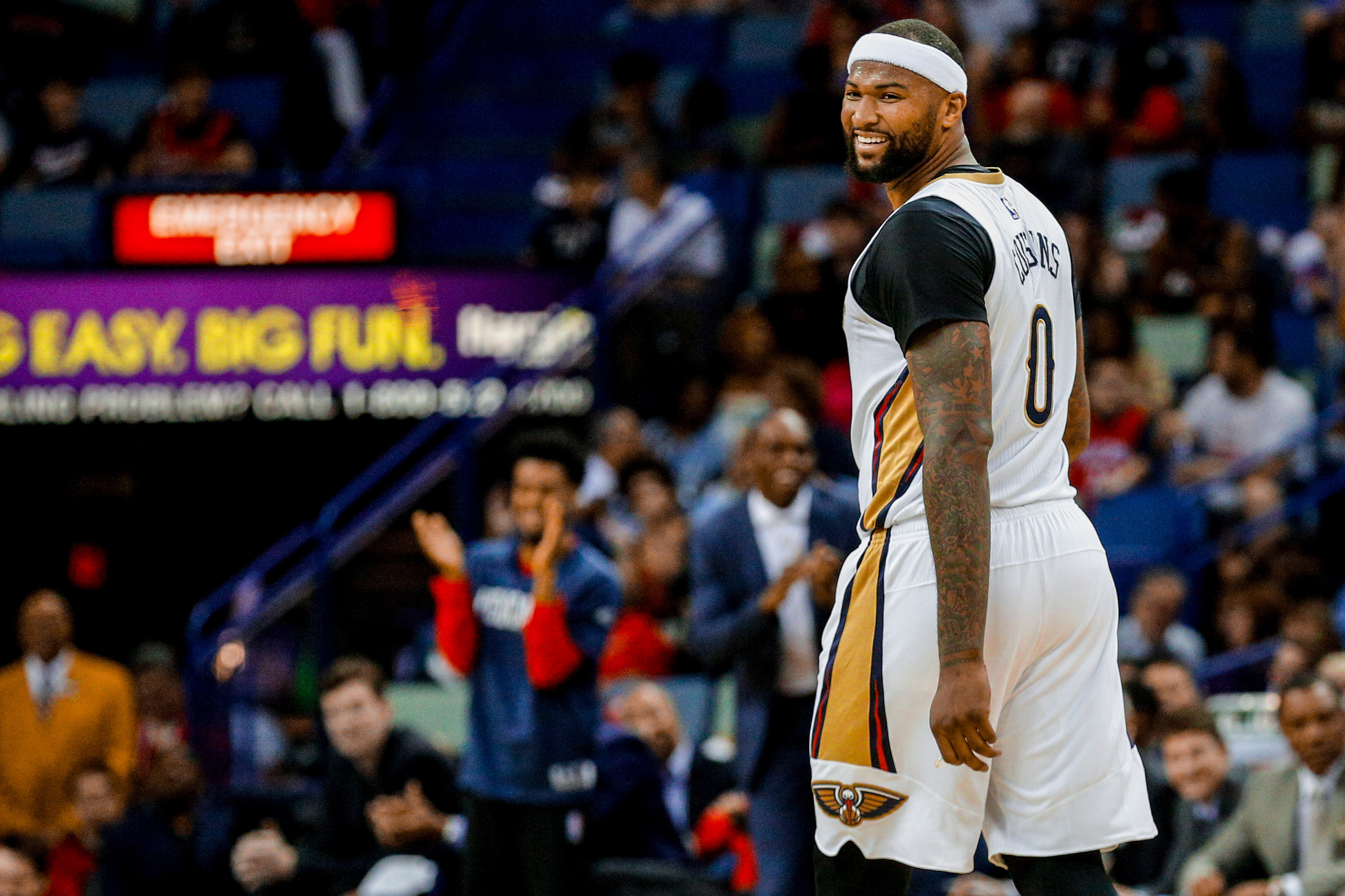 5111d73d Mar 31, 2017; New Orleans, LA, USA; New Orleans Pelicans forward DeMarcus  Cousins (0) flashes a smile during game against the Sacramento Kings in the  first ...